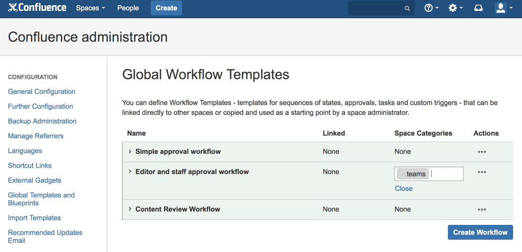 Space blueprints comala workflows old documentation comalatech the confluence admin panel add the space category to the workflow you want to attach to that space every time you create a space with that category malvernweather Gallery