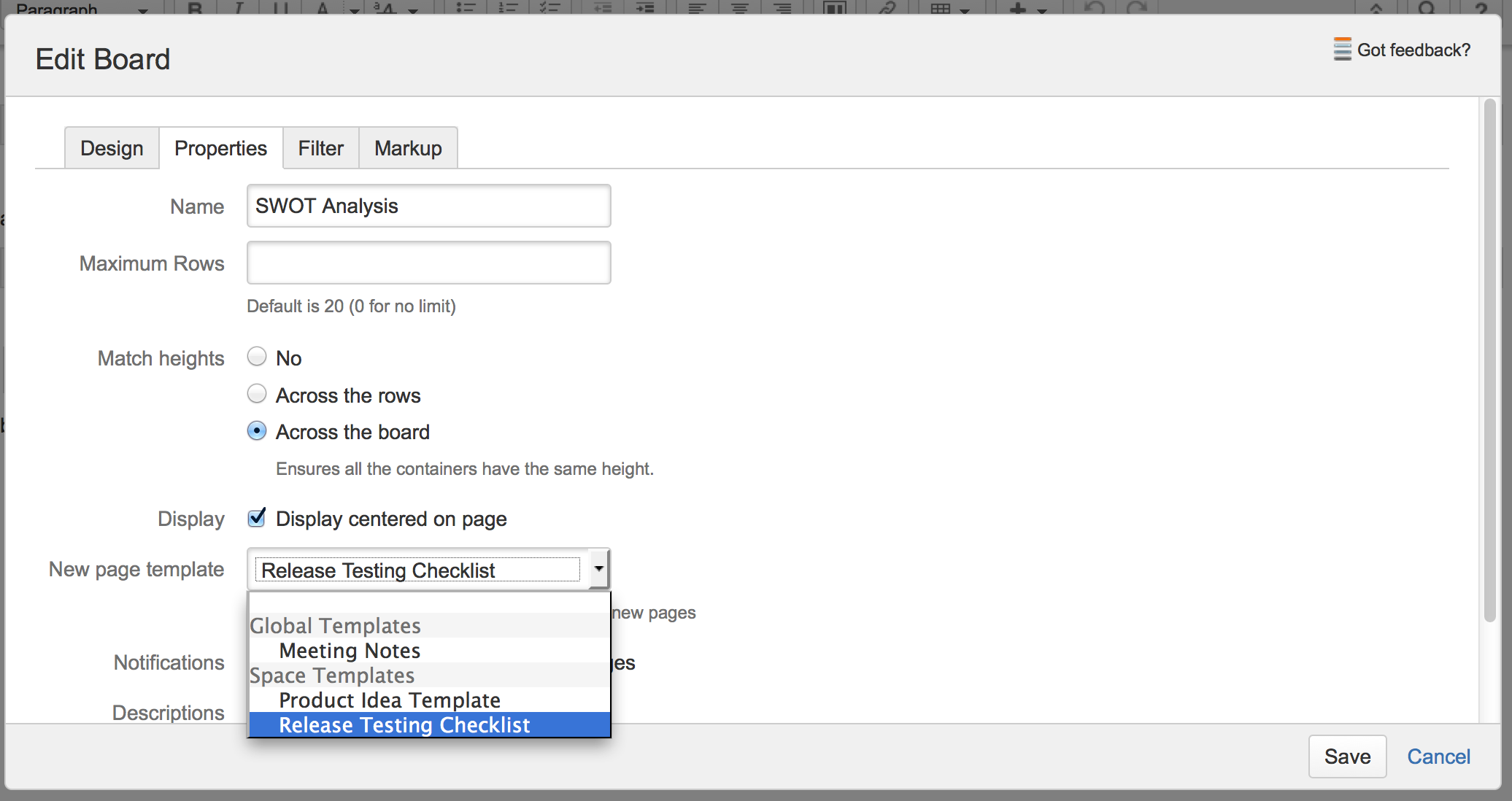 The Page Template Can Be Selected As Part Of Board Properties When Editing A See Also Set